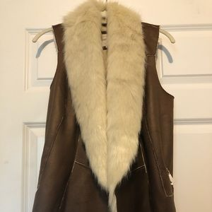River Island Faux Fur & Faux Leather Vest, Size 8